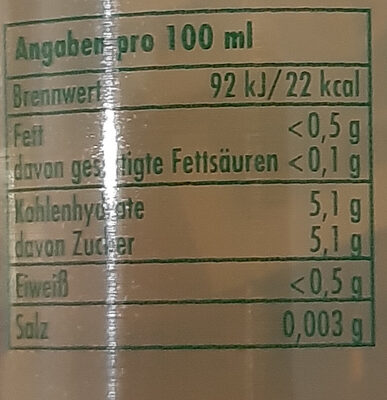 Die leichte Limo - Nutrition facts