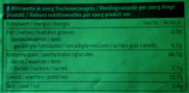 Couscous pour salade - Informations nutritionnelles - fr