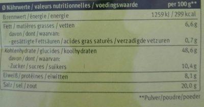 Potato fix - Nutrition facts