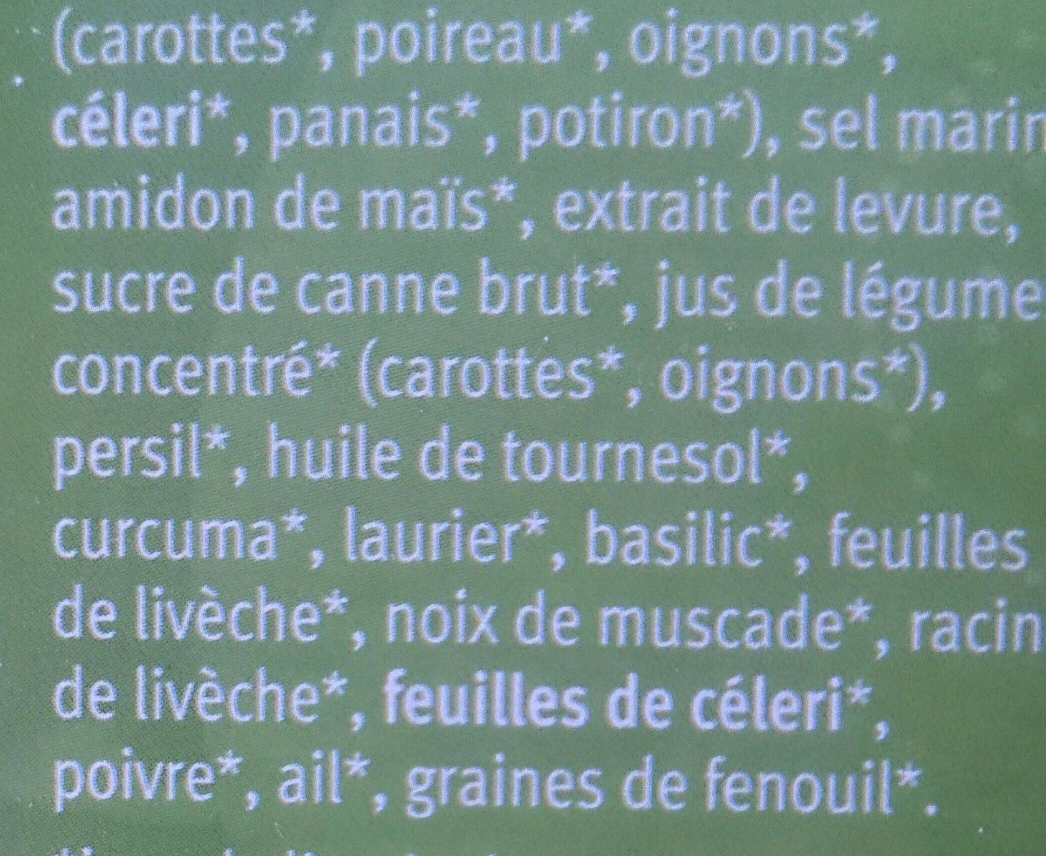 Natur Compagnie Drink Bouillon Rocking Veggie - Ingrédients - fr