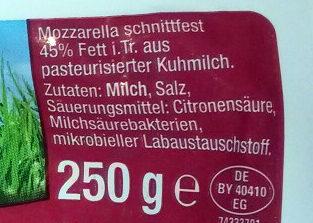 Mozzarella - Inhaltsstoffe