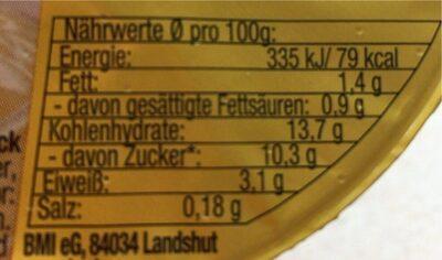 Vanillepudding - Informations nutritionnelles - de
