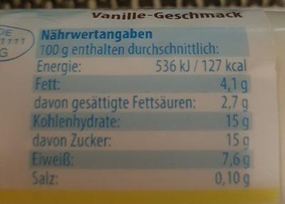 Milchquark Vanillegeschmack - Nährwertangaben