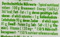 Dextro Energy Vitamin C Zitrone - Valori nutrizionali - de