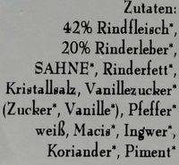 Rinderleberwurst - Inhaltsstoffe