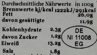 Rinderleberwurst - Nährwertangaben