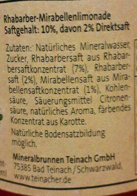 Teinacher - Genusslimonade - Ingrédients