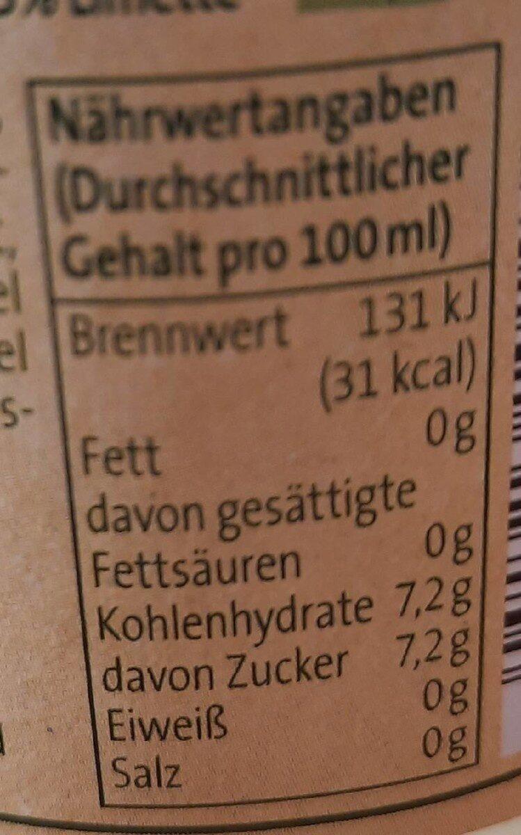 Teinacher genusslimonade Limette Minze - Valori nutrizionali - de