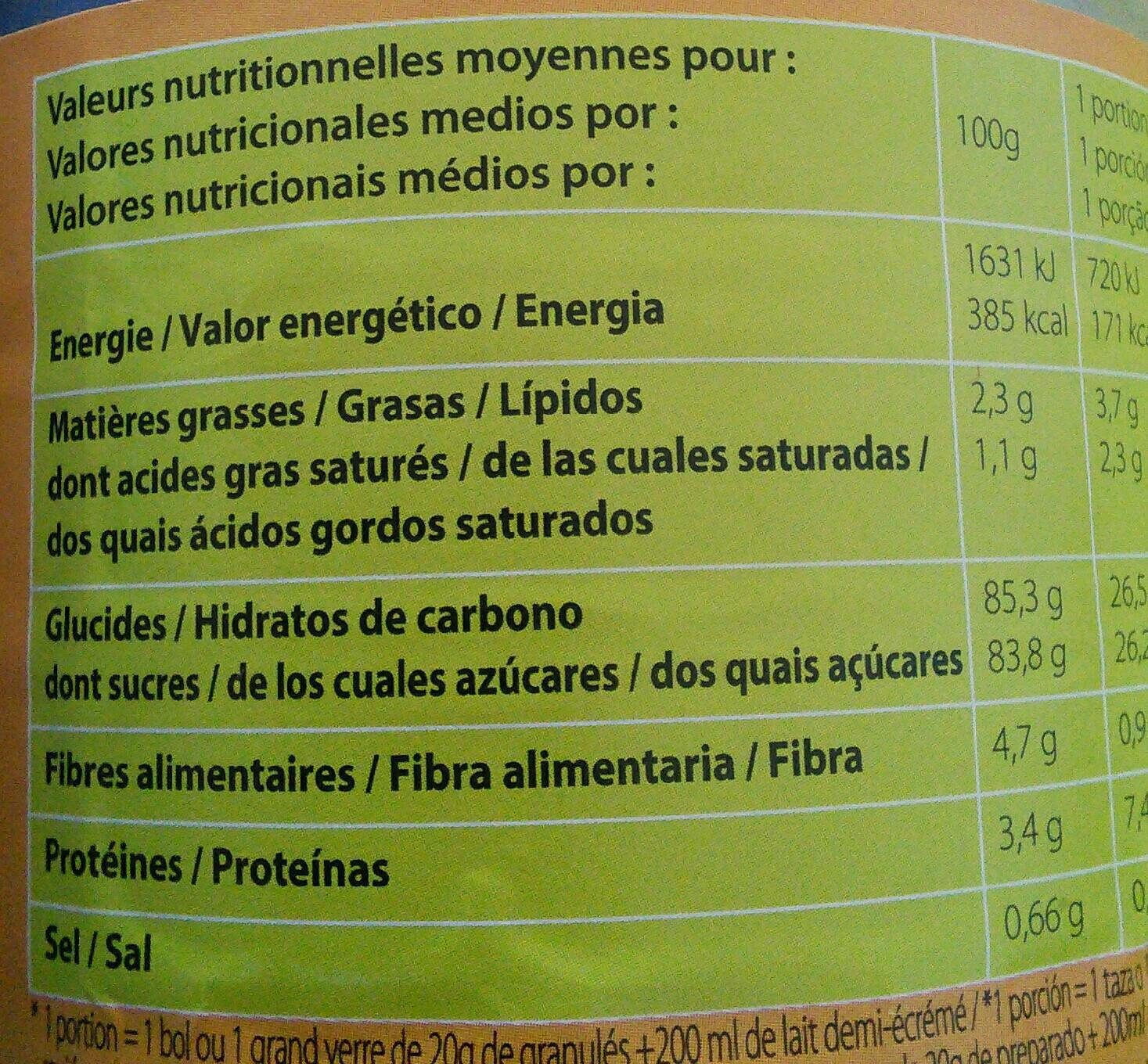 Granulés cacaotés - Informations nutritionnelles - fr