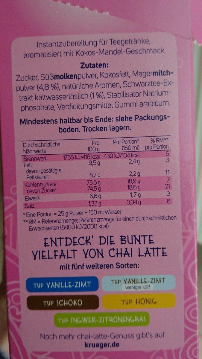 Krüger Chai Latte Exotic India, 10 BTL - Ingrédients