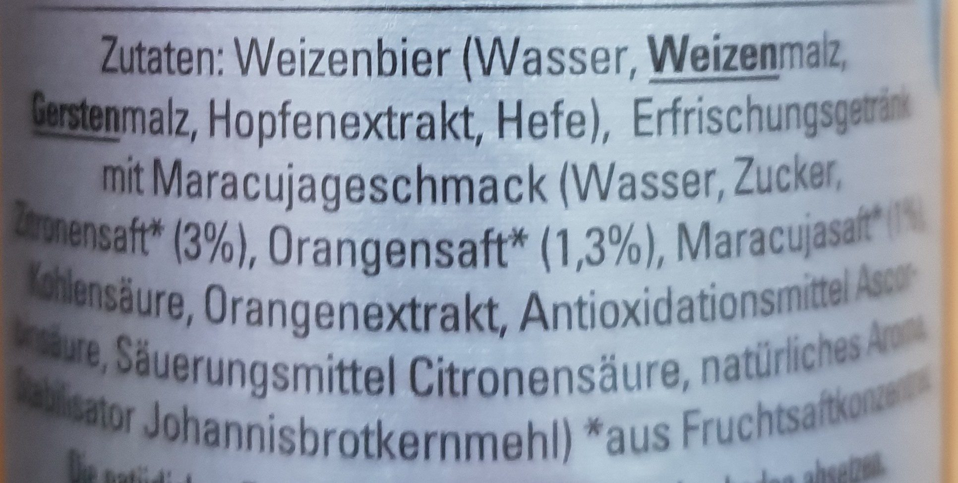 Weizen-Mix Maracuja - Ingredients