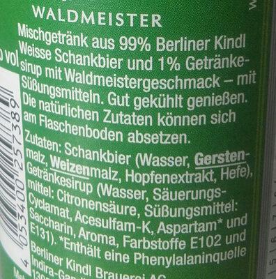 Berliner Kindl Weisse Waldmeister - Ingrediënten