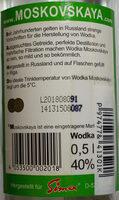 Moskovskaya Russischer Premium Wodka - Ingredients - de