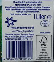 Haltbare Vollmilch 3,5 % Fett - Ingredients