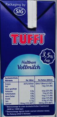 Haltbare Vollmilch 3,5 % Fett - Nutrition facts