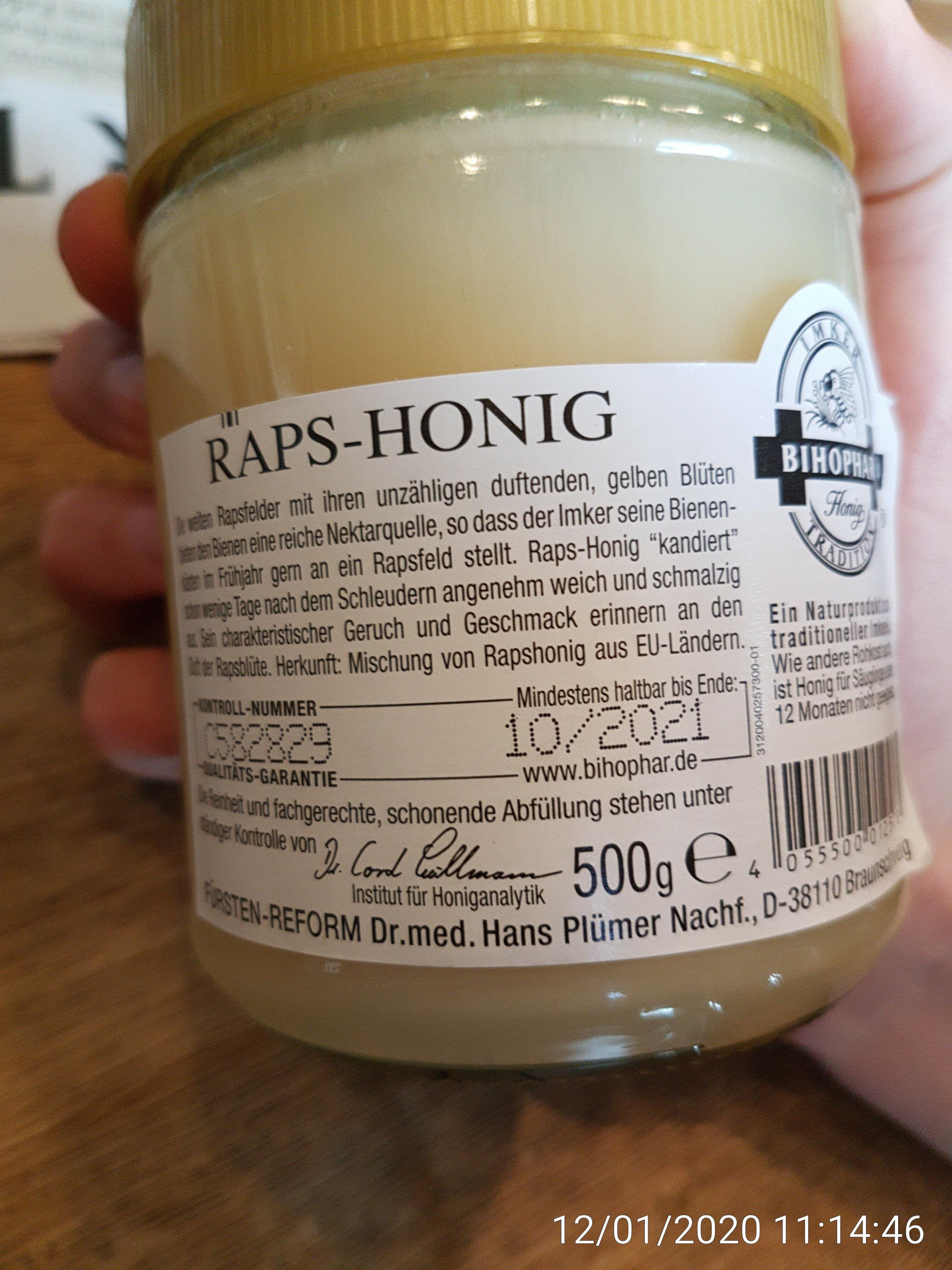 Raps-Honig Naturkost - Ingrediënten - de