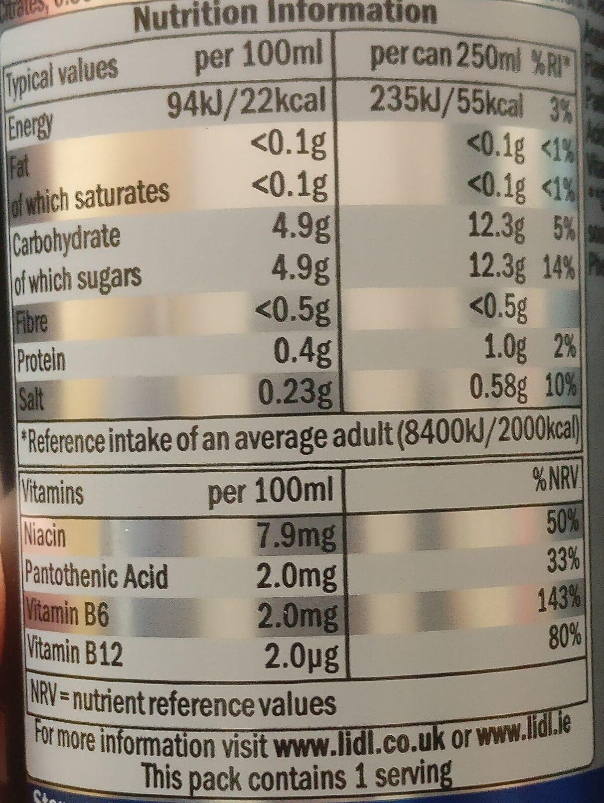 Boisson énergisante - Nutrition facts - en