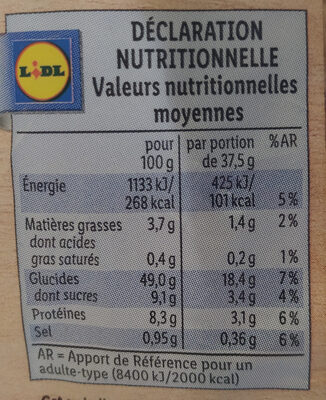 Grandes Tranches Nature - Informations nutritionnelles - fr