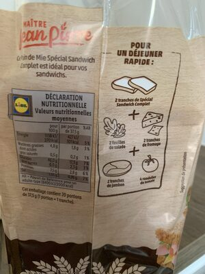 Pain de Mie Spécial Sandwich Complet - Nutrition facts - fr