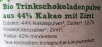 Trink Schockolade - Ingrédients - de