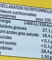Maasdam - Informations nutritionnelles - fr