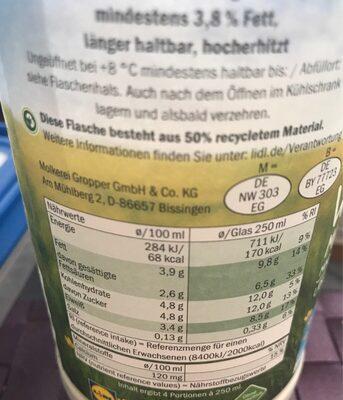 Milch frisch 3,8 %.  Weidemilch. Milch - Informations nutritionnelles - de
