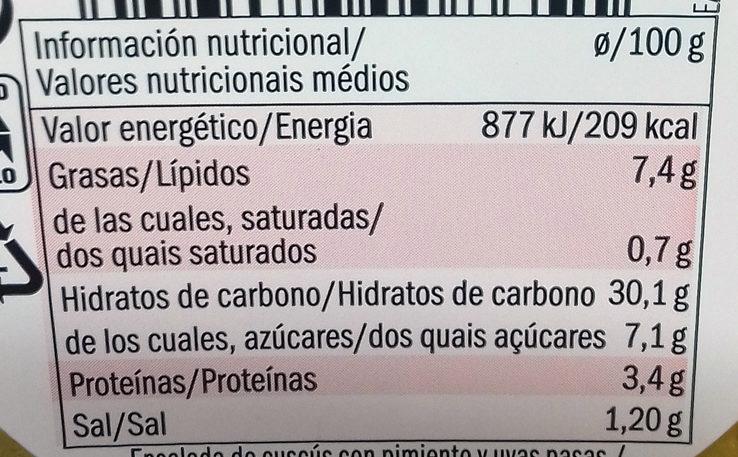 Cuscús Pimiento y uvas pasas - Informació nutricional