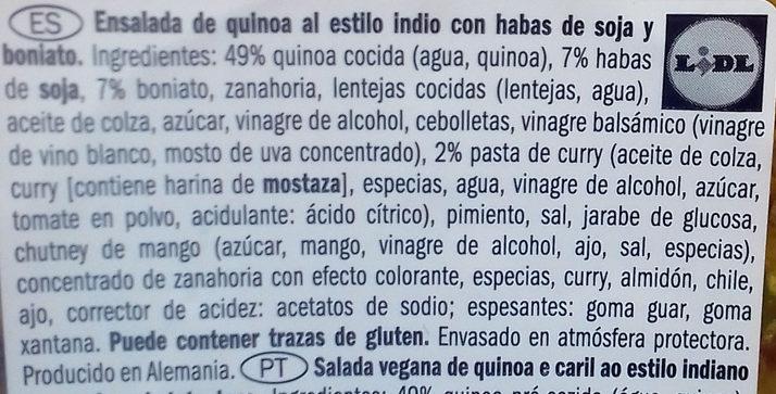 Ensalada quinoa, habas de soja y boniato - Ingredients