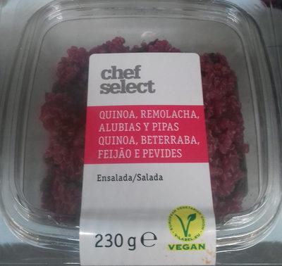 Salade Quinoa, betteraves rouges et haricots noirs