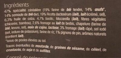 Tortelloni Pesto basilic & Pignons - Ingredients - fr