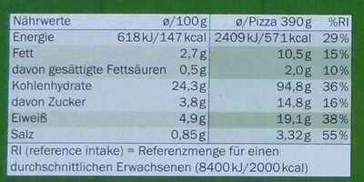 Pizza veggie - Nutrition facts
