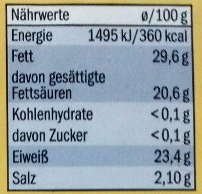 Gauda mittelalt - Informations nutritionnelles - de