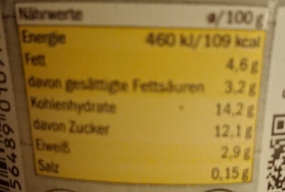 Buttermilchdessert - Informations nutritionnelles - de