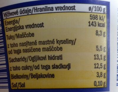 Greek style yoghurt with honey - Nutrition facts