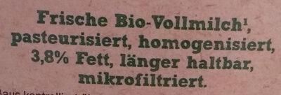 Bio Organic Frische Vollmilch - Zutaten