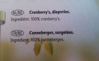 Cranberry's - Ingredients - nl