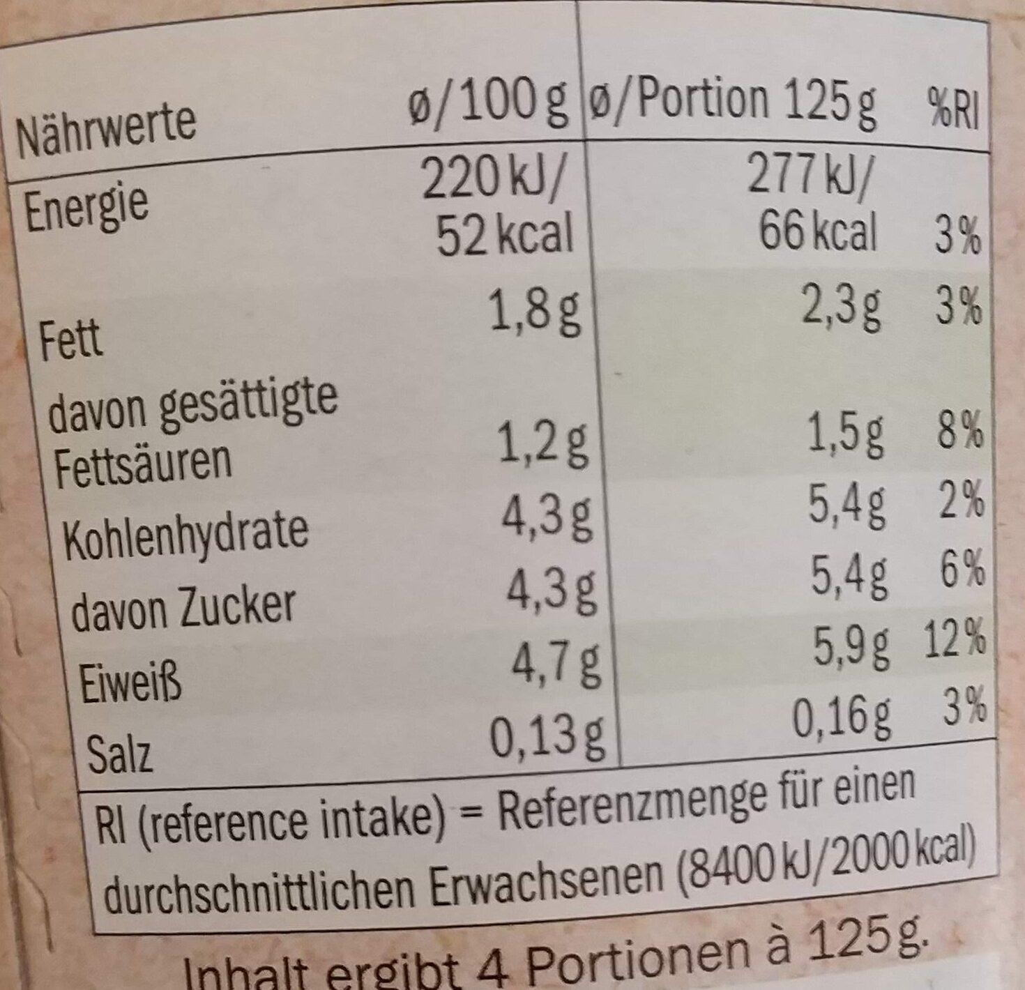 Fettarmer Joghurt Mild - Nutrition facts