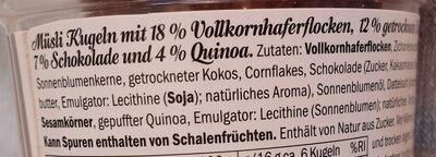 Granola Bites cocos & chocolat - Ingredients