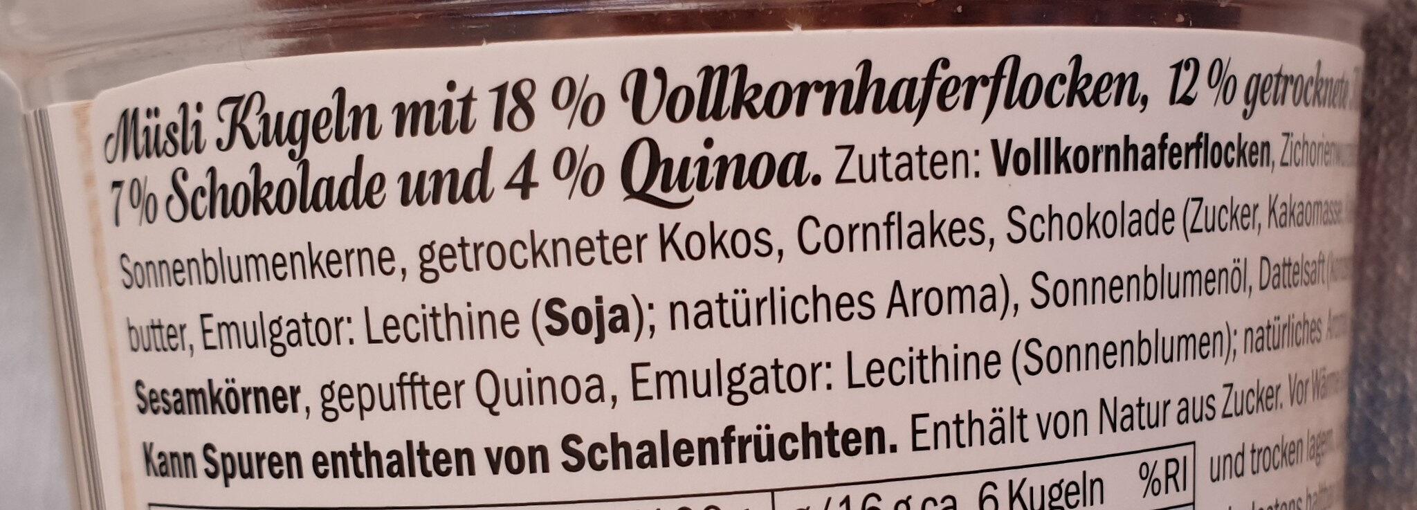 Granola Bites cocos & chocolat - Ingredients - de