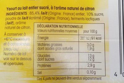 yaourt saveur citron - Ingredients