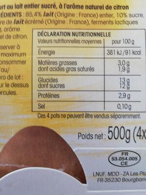 yaourt saveur citron - Nutrition facts