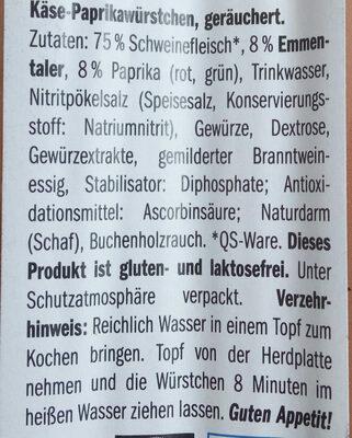 Käse-Paprikawürstchen. Wurst - Ingredients - de