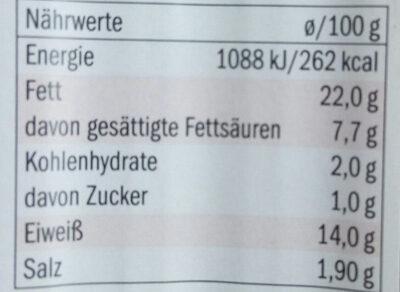 Käse-Paprikawürstchen. Wurst - Nutrition facts - de