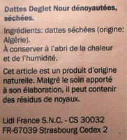 Dates Deglet Nour - Ingrédients - fr