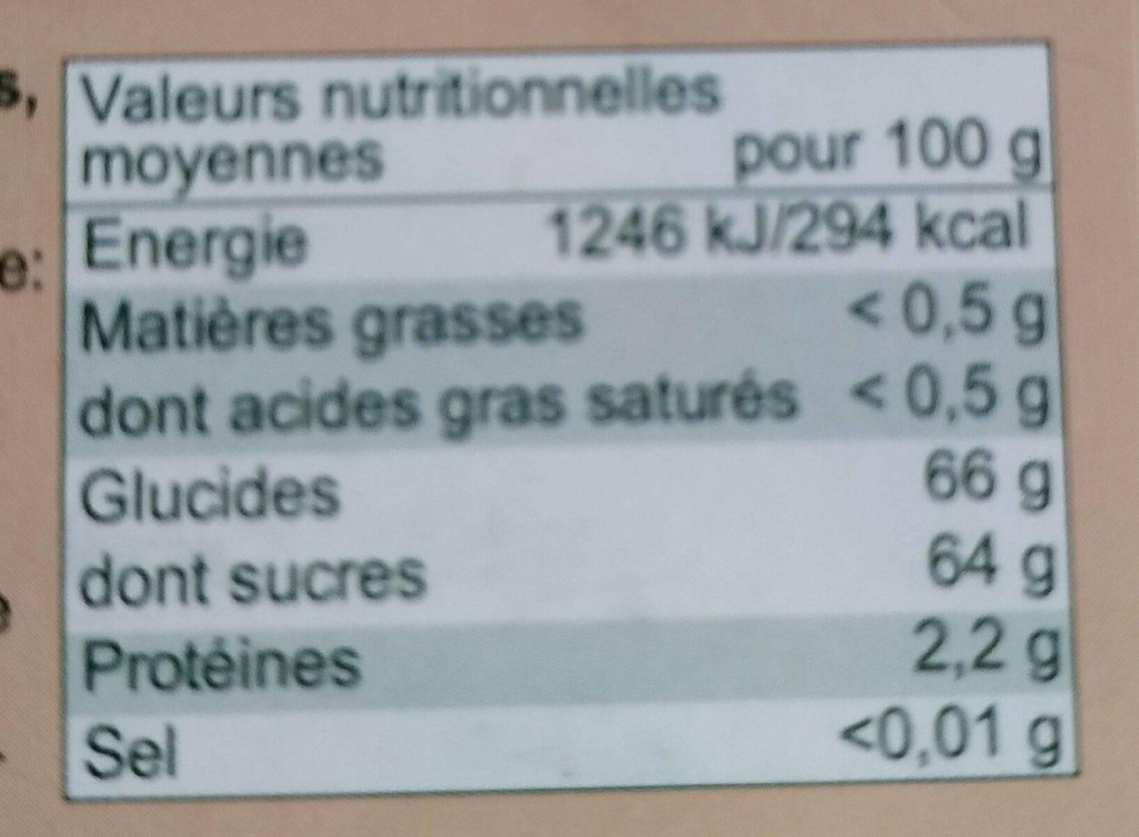 Dates Deglet Nour - Informations nutritionnelles - fr