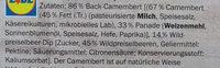 Back-Camembert Wildpreiselbeer - Inhaltsstoffe