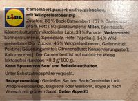 Back-Camembert Wildpreiselbeer - Ingrédients - fr