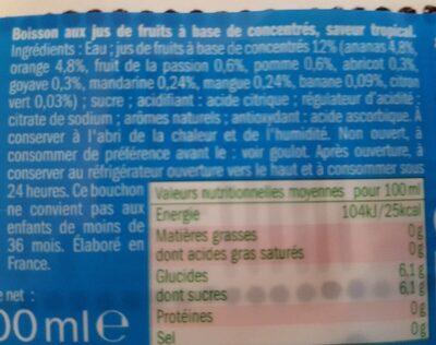 Fruit blast saveur tropical - Ingrédients - fr