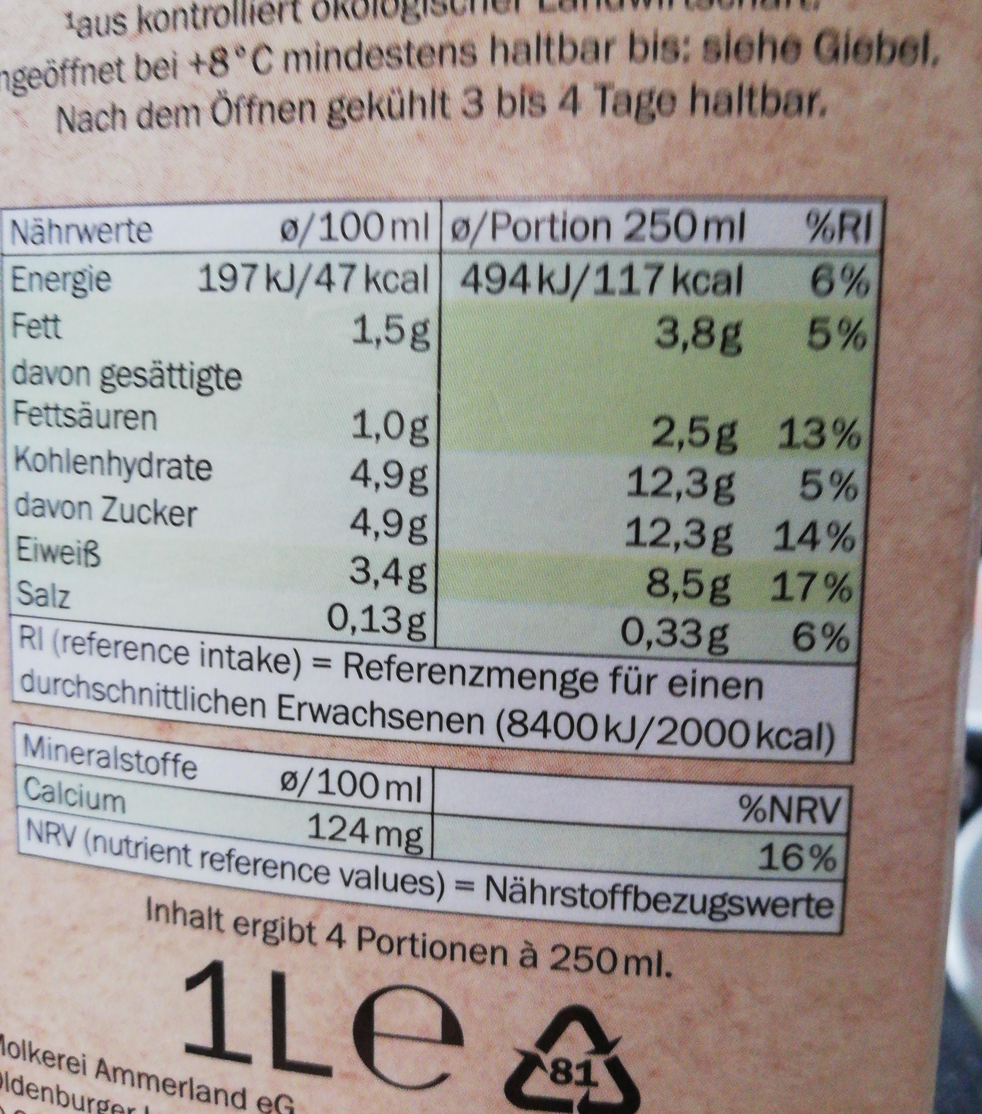 Frische fettarme Milch - Ingredients - de
