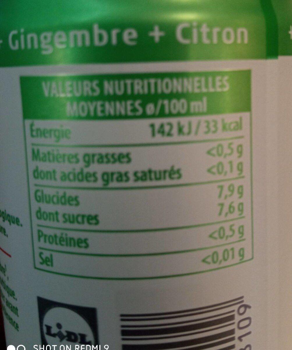 Shot de gingembre BIO - Valori nutrizionali - de